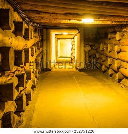 Underground corridor in Wieliczka Salt Mine - stock photo