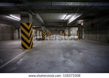 Underground garage. interior shots - stock photo