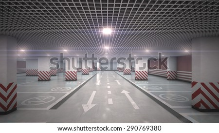 Underground  garage parking without cars refraction light