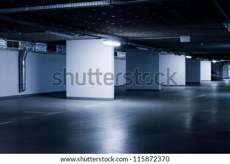 underground parking garage - colorized photo - stock photo