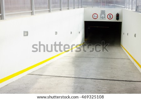 Underground parking garage entrance