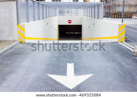 Underground parking garage exit