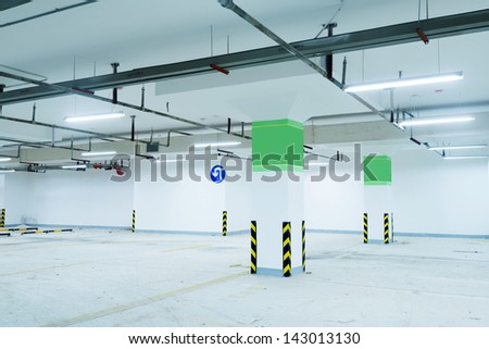 Underground parking lot - stock photo