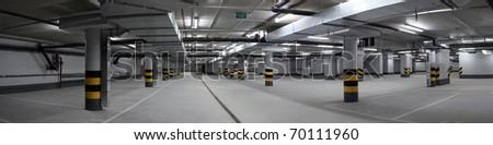 Underground parking panorama - stock photo