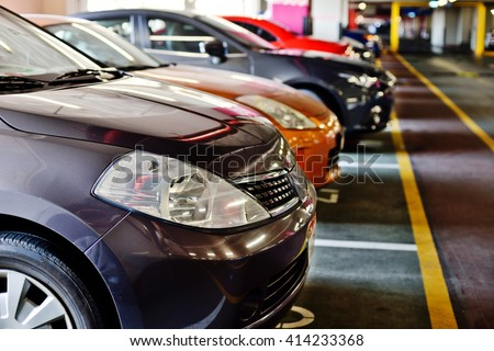 Underground parking zone, full of the cars