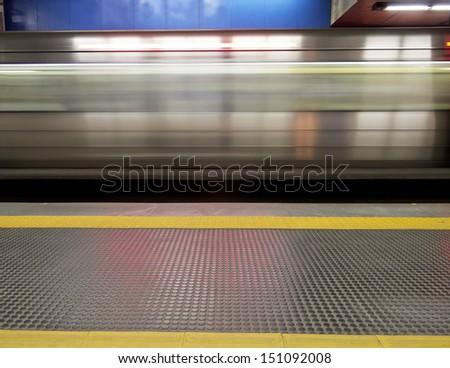 Underground station - metro wagon moving - Blur - stock photo