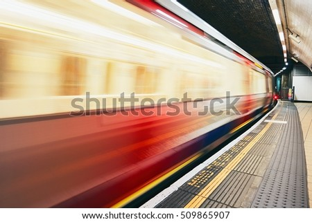 Underground train on the move - London, The United Kingdom of Great Britain and Northern Ireland