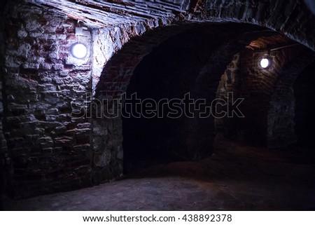 Underground vault in the basement - stock photo
