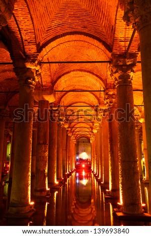 Underground water storage Yerebatan Sarayi (Basilica Cistern), Istanbul, Turkey - stock photo