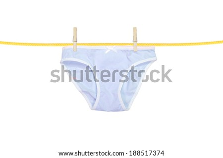 underpants hanging isolated on a white