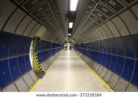 Underpass in a tube train station. London, UK. - stock photo