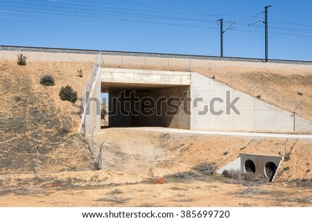 Underpass in the Madrid-Levante High-Speed Railway. These non-specific structures can be used as passageways by wildlife - stock photo