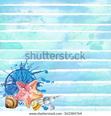 Undersea world. Sea theme watercolor wallpaper. Sea depth background art watercolor illustration. nautical stripe background. Summer Sea holiday background. Sea vacation watercolor background - stock photo
