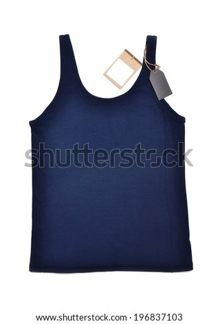 undershirt with price tag on white background