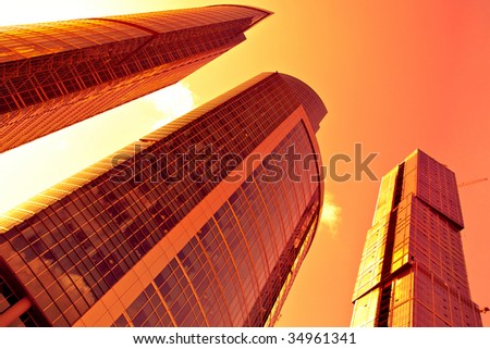 Underside diagonal view to new business center at sunset, Moscow city, Russia - stock photo