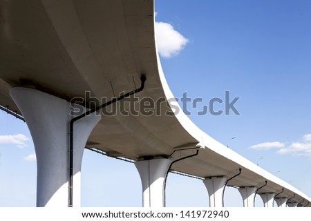 Underside of a freeway span - stock photo