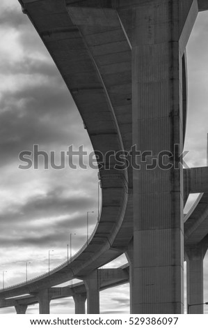 Underside of an elevated roads