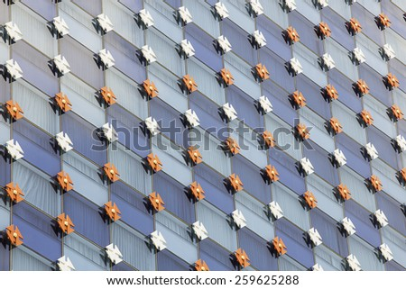 underside panoramic and perspective view to steel blue glass high rise building skyscrapers, business concept of successful industrial architecture - stock photo