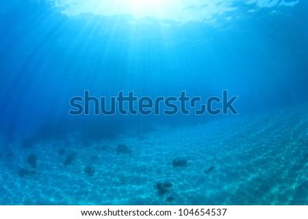 Underwater Background Image Of Sunbeams On Ocean Floor