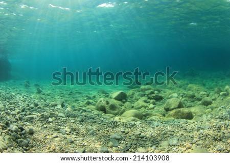 Underwater background in sea - stock photo