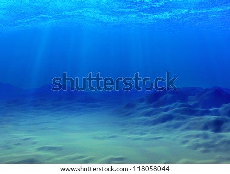 Underwater background with a sandy bottom and sunbeams - stock photo