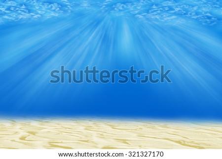 underwater background with  sunlight - stock photo