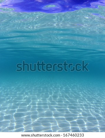 Underwater Blue Background is Sea with Sandy bottom