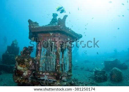Underwater Buddha temple of Tulamben, Bali, Indonesia. - stock photo