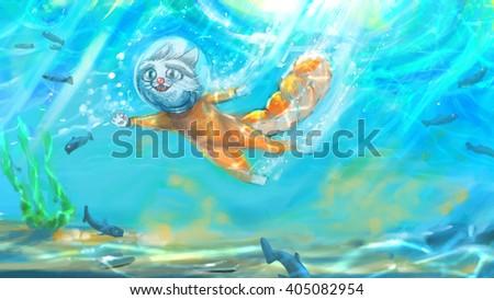 Underwater Cat - stock photo