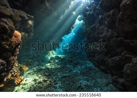 underwater cave - stock photo