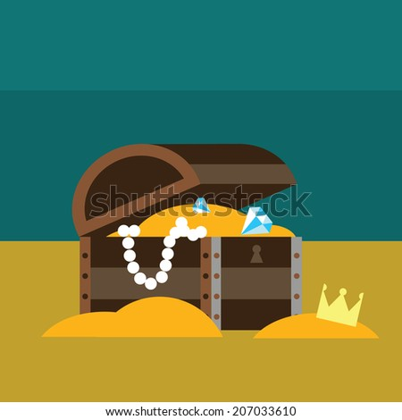 Underwater chest with gold Raster version - stock photo