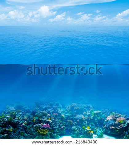 Underwater deep with water surface and sky - stock photo