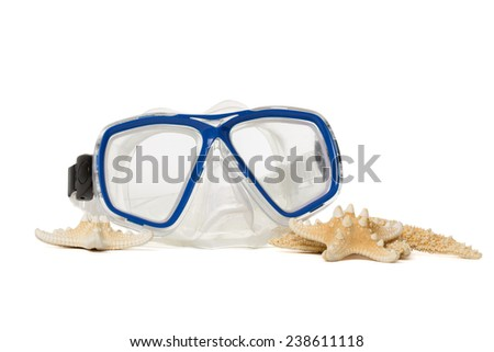 Underwater diving mask with seashells. Isolated on white background.  - stock photo