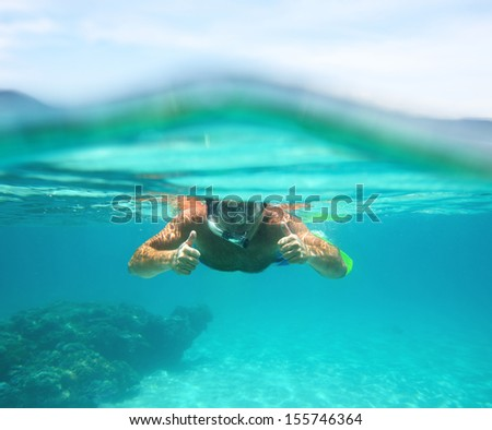 Underwater emotional portrait of a man snorkeling in tropical sea. Vietnam - stock photo