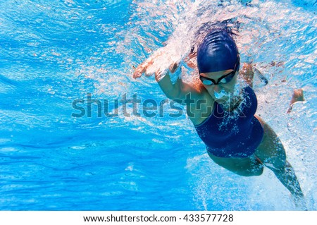 Underwater image of swimmer in action - stock photo