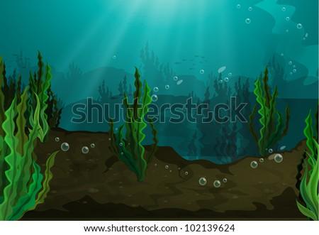 Underwater in freshwater habitat - EPS VECTOR format also available in my portfolio. - stock photo