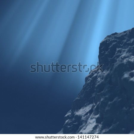 Underwater. Large stone in the water. 3d render - stock photo