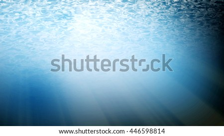 Underwater ,light blue sea or ocean with sun rays background. - stock photo