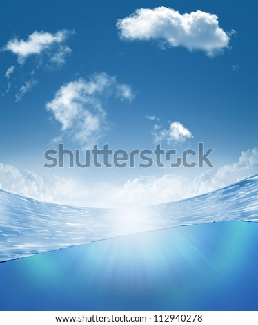 Underwater part and skylight splitted by waterline - stock photo