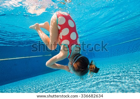 Underwater photo of adorable little girl diving and swimming in pool on summer vacation - stock photo