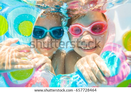 Underwater Photo Of Little Kids Swimming In Pool Part 71