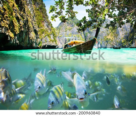 Underwater picture with fish and traditional longtail boat in Maya bay, Ko Phi Phi Le, Tailand - stock photo