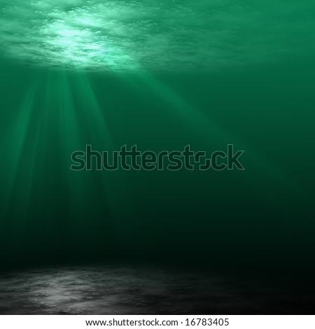 Underwater scene with rays of light - stock photo