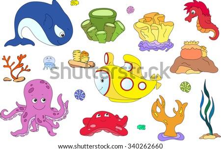 Underwater set. Ocean inhabitants and submarine. Octopus, jellyfish, starfish, sea-horse, reefs and corals. illustration - stock photo