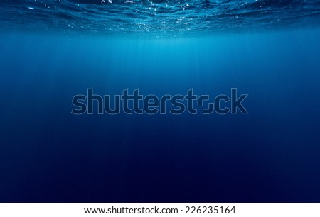 Underwater shot of sea surface with waves - stock photo