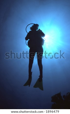 Underwater silhouette of woman scuba diver in the Caribbean