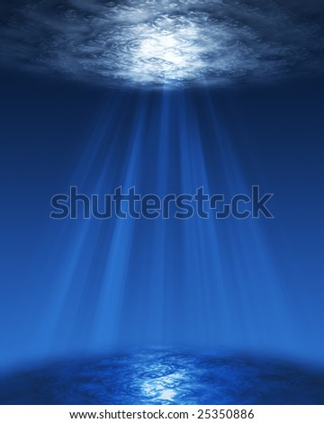 Underwater sun rays - stock photo