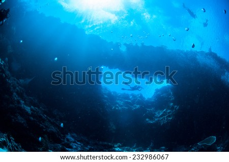 Underwater sunshine in Banda, Indonesia. There is diver swimming above the reefs.