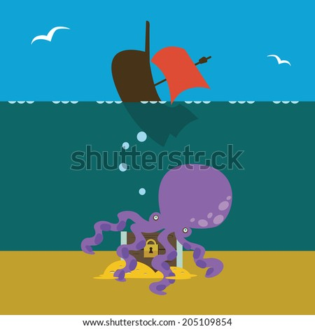 Underwater treasures Raster version - stock photo
