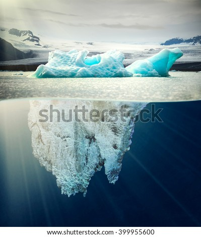 underwater view of iceberg in nice scenery of Iceland - stock photo